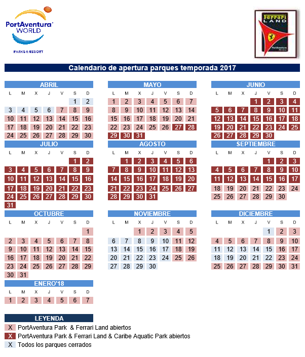 Calendario Portaventura.Ticket Portaventura Park Optional Ferrari Land Only Tickets No